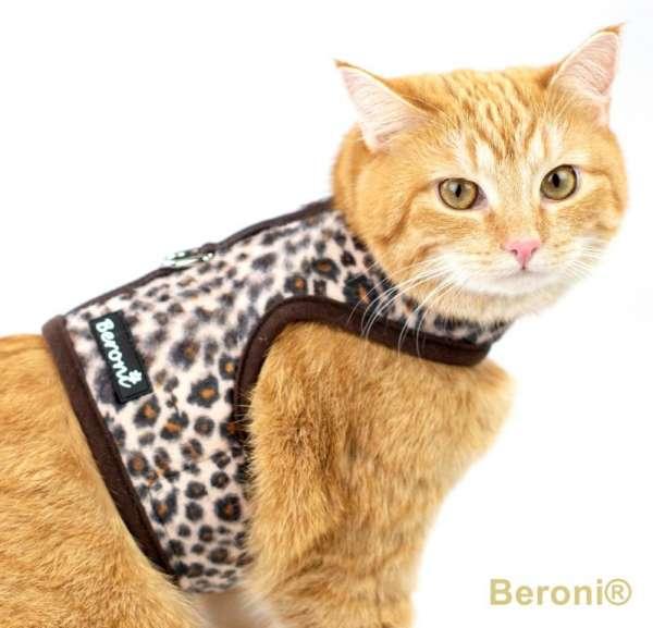 Cat walking harnas jacket tuig bruine luipaard