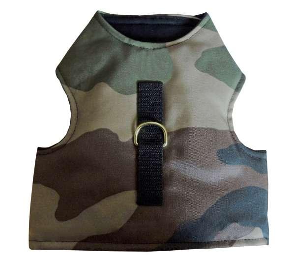 kattenjasje walking jacket harnas camouflage groen-bruin
