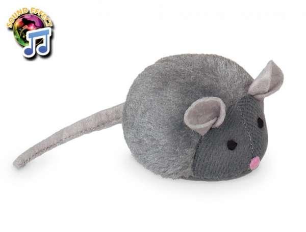 Pluche muis met kattenkruid en natuurlijke muisstem