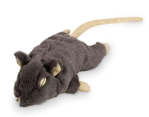 Kattenspeelgoed pluche rat grijs met kattenkruid