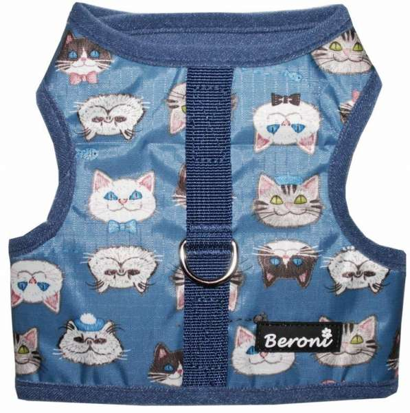 Kattenharnas kattentuigje vest NO ESCAPE mooie kitten waterafstotend blauw