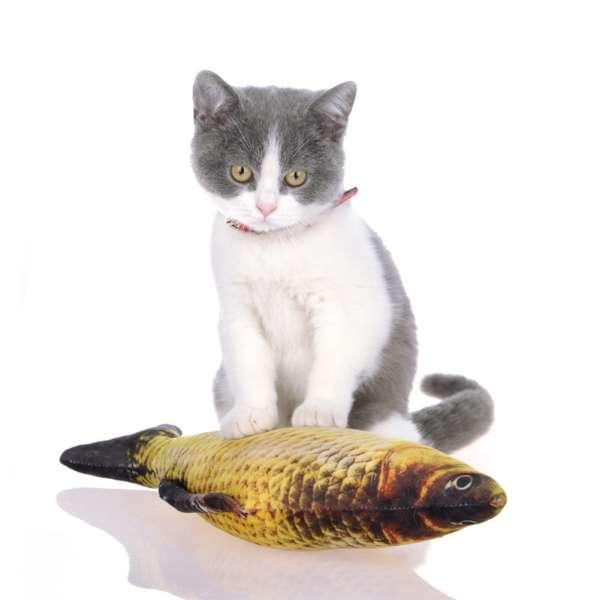 Kattenspeelgoed vissen 3D baars als echt met kattenkruid