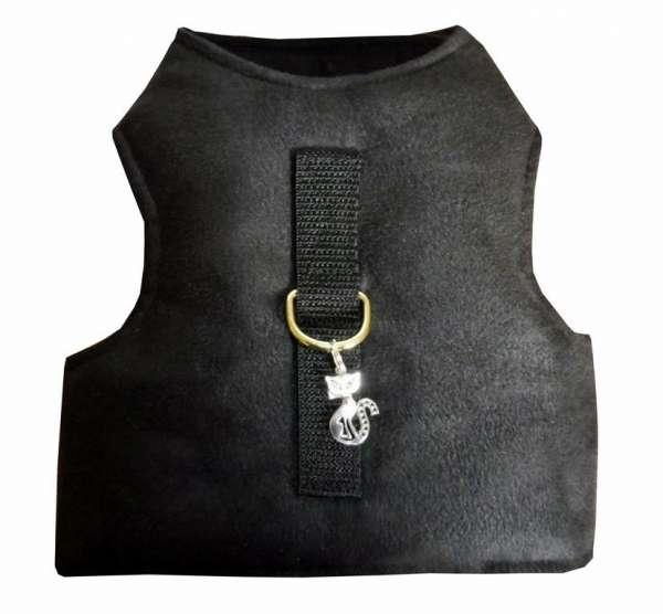 Veilig Kattentuigje vest harnas zwart art suede