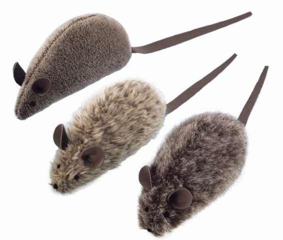Kattenspeelgoed pluche muis met lederen staart